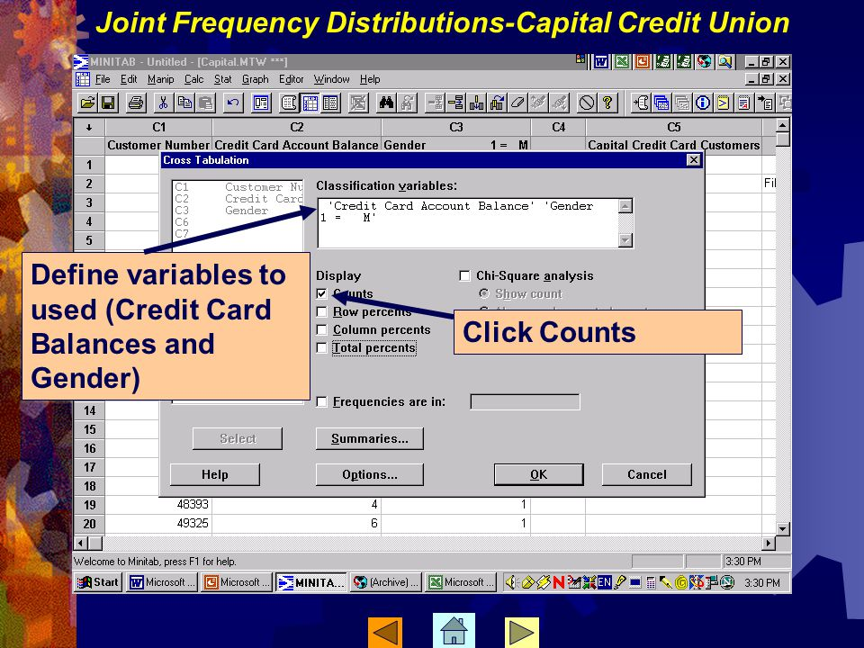 Define variables to used (Credit Card Balances and Gender) Click Counts Joint Frequency Distributions-Capital Credit Union