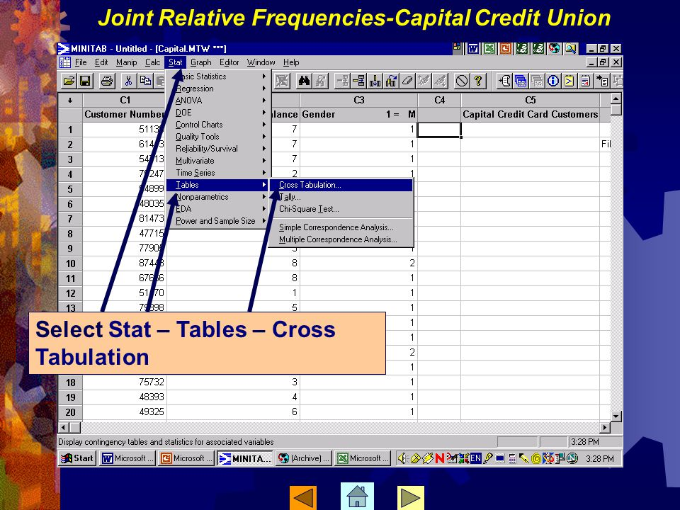Joint Relative Frequencies-Capital Credit Union Select Stat – Tables – Cross Tabulation