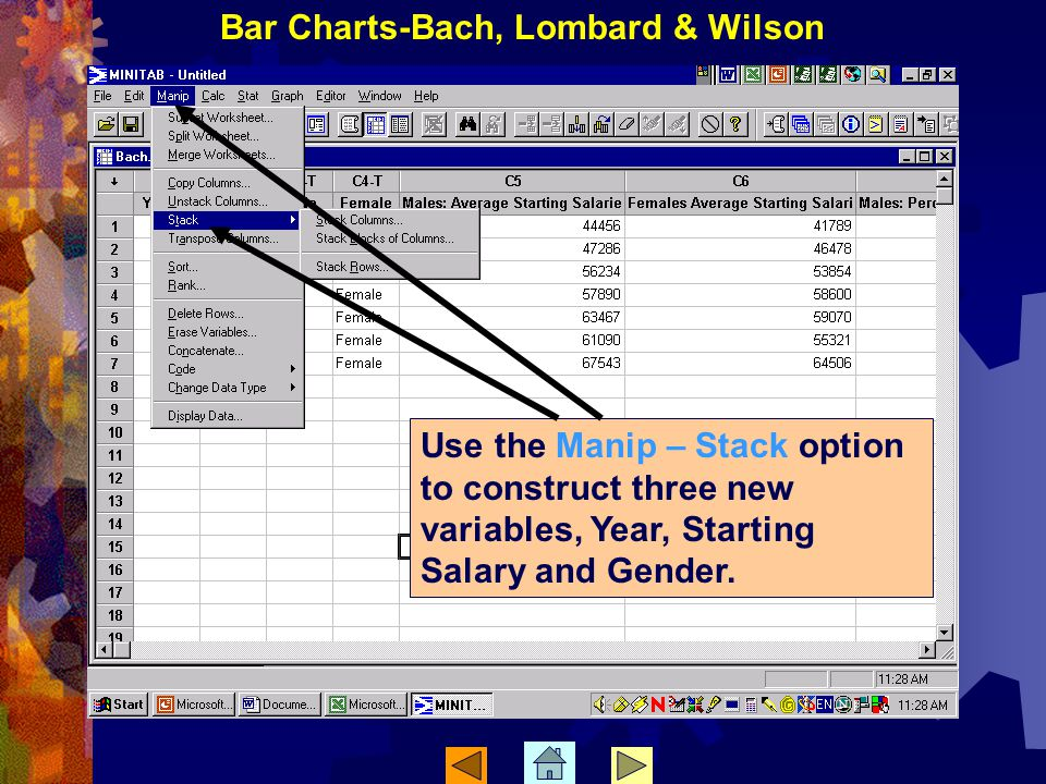 Use the Manip – Stack option to construct three new variables, Year, Starting Salary and Gender.