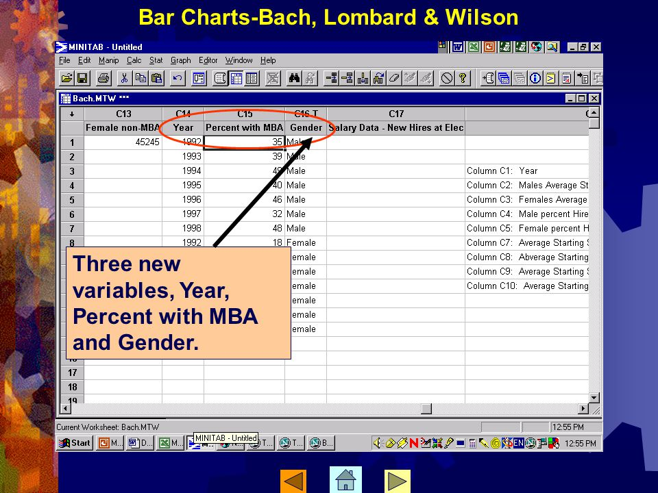 Three new variables, Year, Percent with MBA and Gender. Bar Charts-Bach, Lombard & Wilson