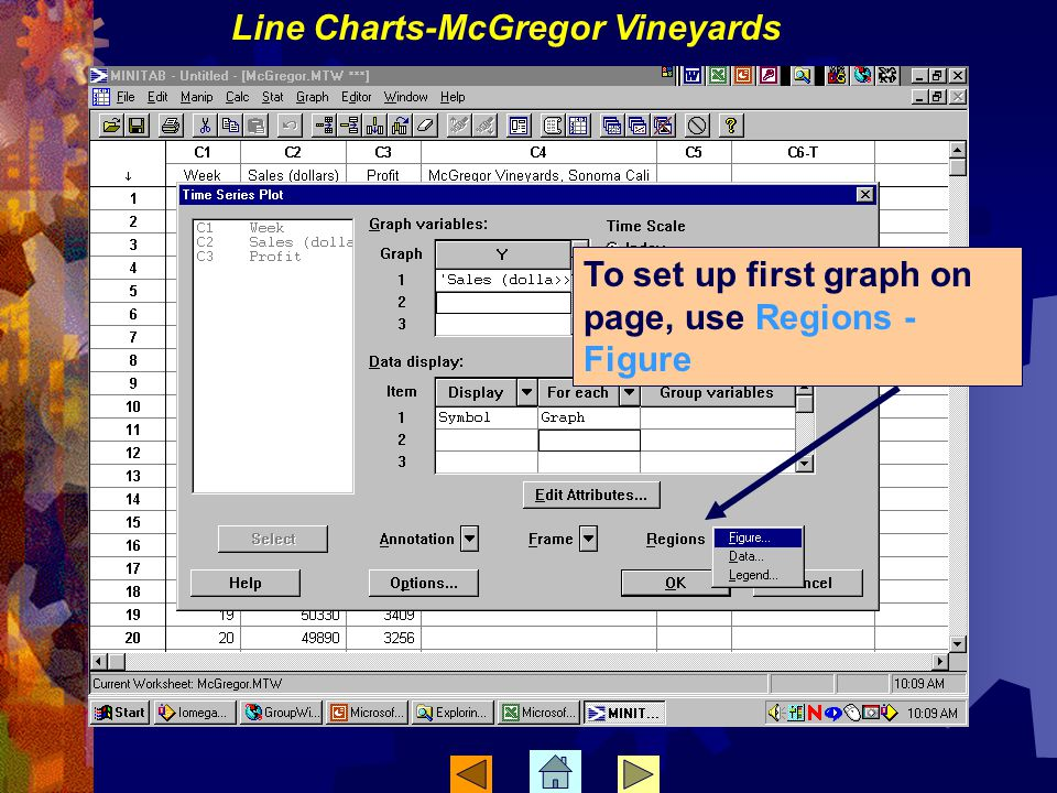 To set up first graph on page, use Regions - Figure Line Charts-McGregor Vineyards