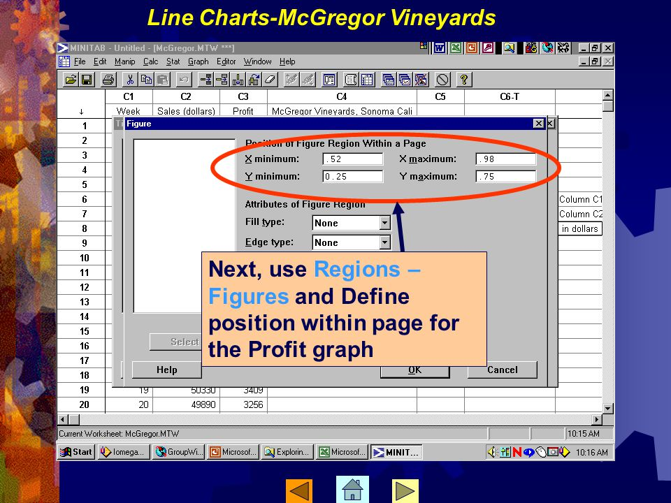Next, use Regions – Figures and Define position within page for the Profit graph Line Charts-McGregor Vineyards