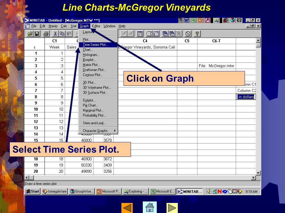 Select Time Series Plot. Click on Graph Line Charts-McGregor Vineyards
