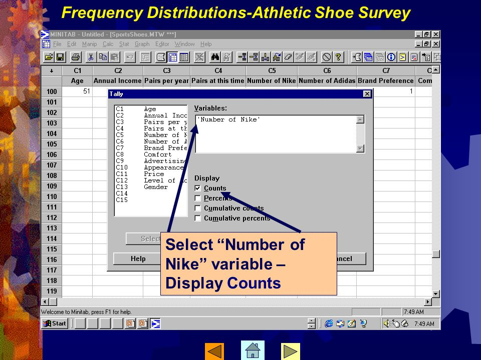 Frequency Distributions-Athletic Shoe Survey Select Number of Nike variable – Display Counts