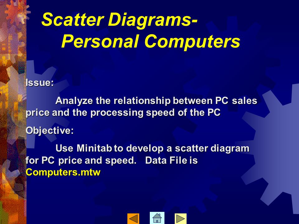 Scatter Diagrams- Personal Computers Issue: Analyze the relationship between PC sales price and the processing speed of the PC Objective: Use Minitab to develop a scatter diagram for PC price and speed.