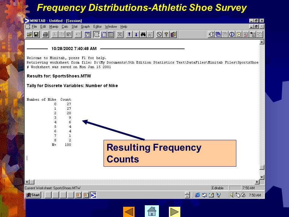 Frequency Distributions-Athletic Shoe Survey Resulting Frequency Counts