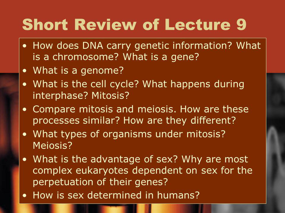 Short Review of Lecture 9 How does DNA carry genetic information? What is a chromosome? What is a gene? What is a genome? What is the cell cycle? What
