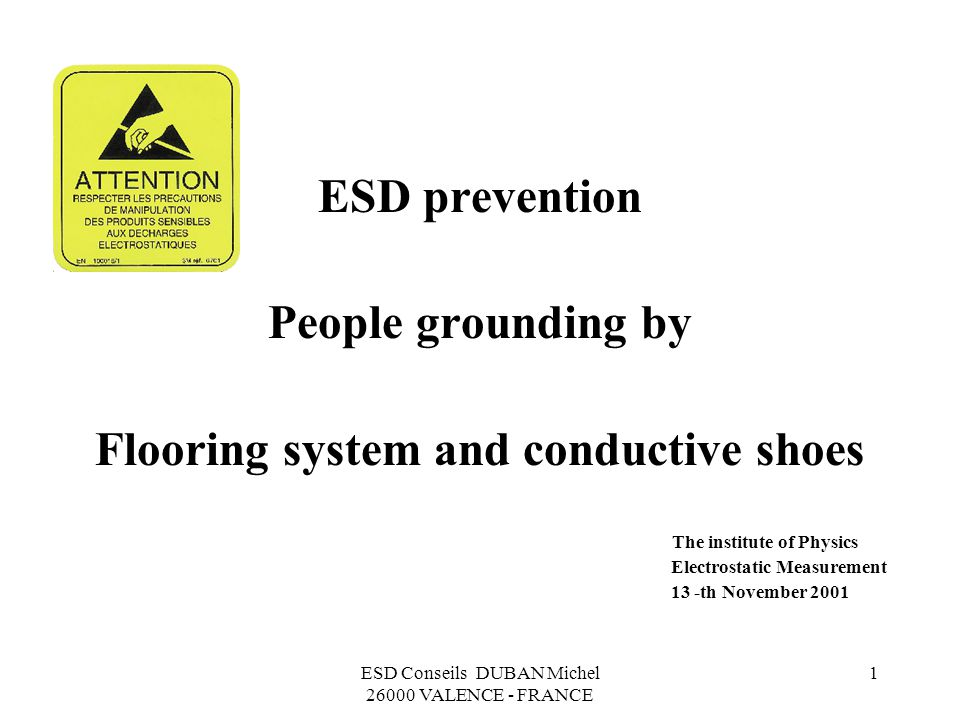 ESD Conseils DUBAN Michel 26000 VALENCE - FRANCE 1 ESD prevention People grounding by Flooring system and conductive shoes The institute of Physics…..