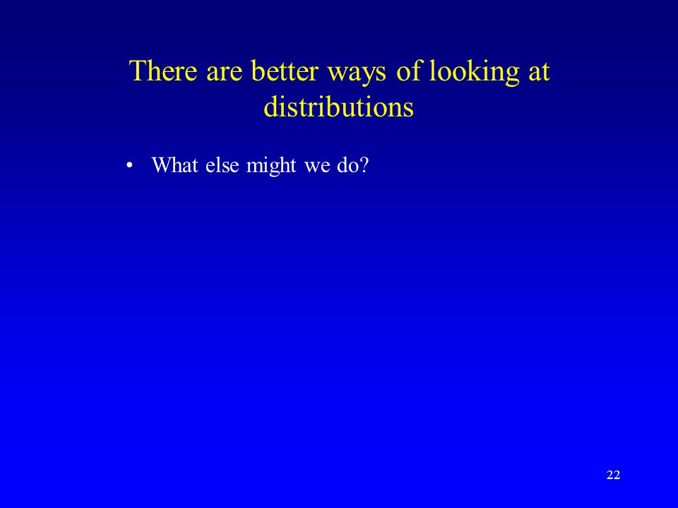 22 There are better ways of looking at distributions What else might we do?