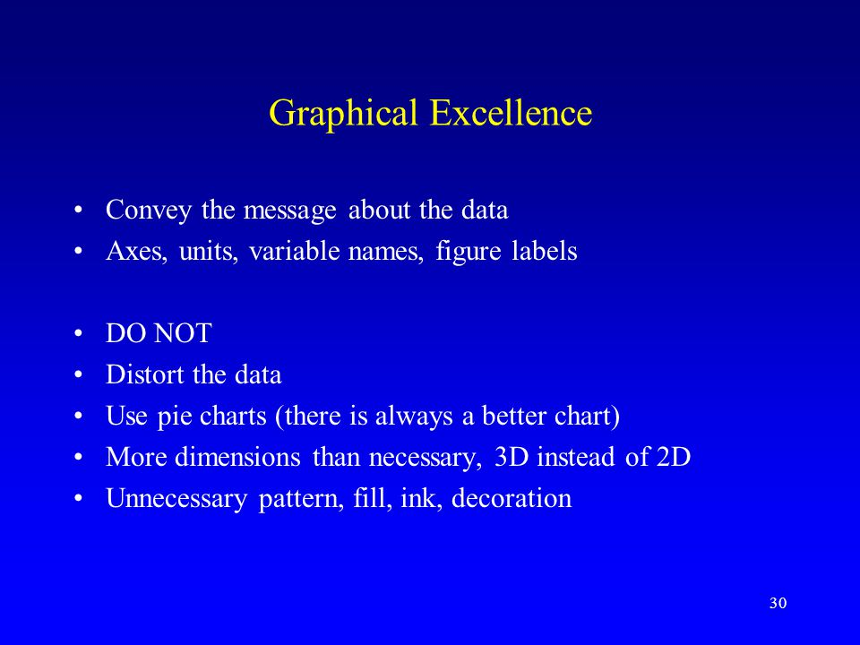 30 Graphical Excellence Convey the message about the data Axes, units, variable names, figure labels DO NOT Distort the data Use pie charts (there is always a better chart) More dimensions than necessary, 3D instead of 2D Unnecessary pattern, fill, ink, decoration