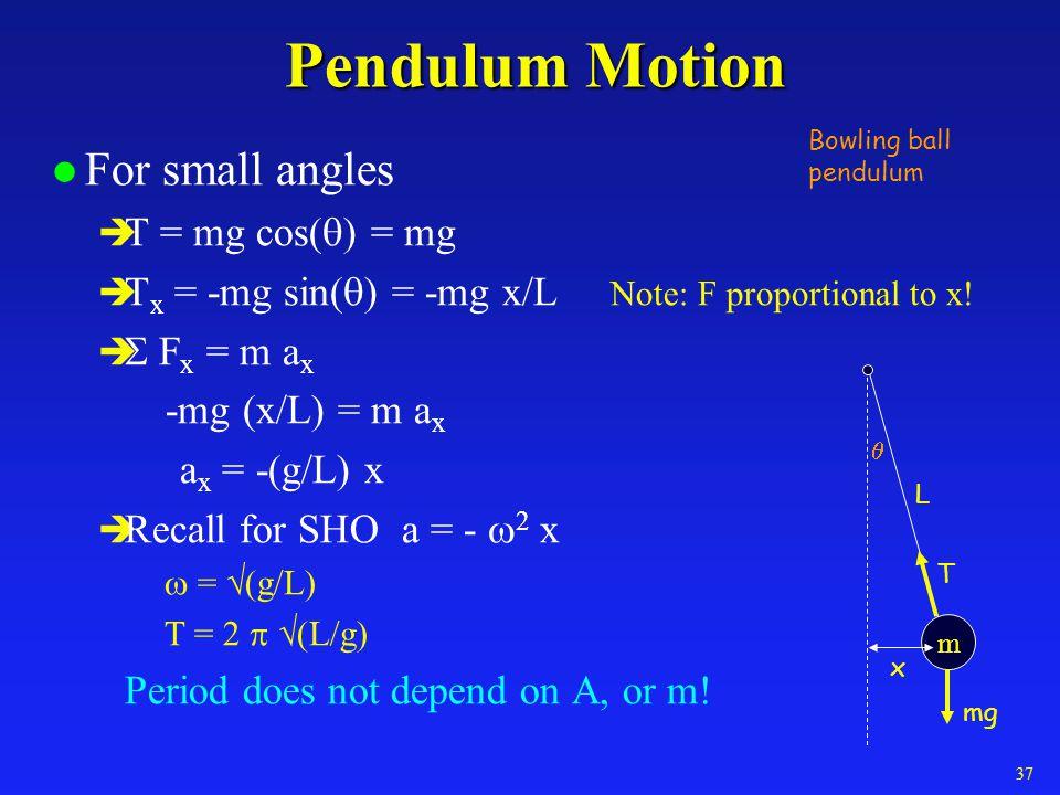 Pendulum Motion l For small angles T = mg cos( ) = mg T x = -mg sin( ) = -mg x/L Note: F proportional to x! F x = m a x -mg (x/L) = m a x a x = -(g/L)