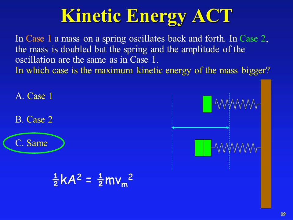 Kinetic Energy ACT Kinetic Energy ACT In Case 1 a mass on a spring oscillates back and forth. In Case 2, the mass is doubled but the spring and the am