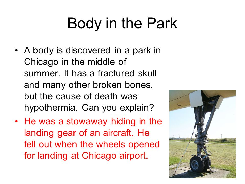 Body in the Park A body is discovered in a park in Chicago in the middle of summer. It has a fractured skull and many other broken bones, but the caus
