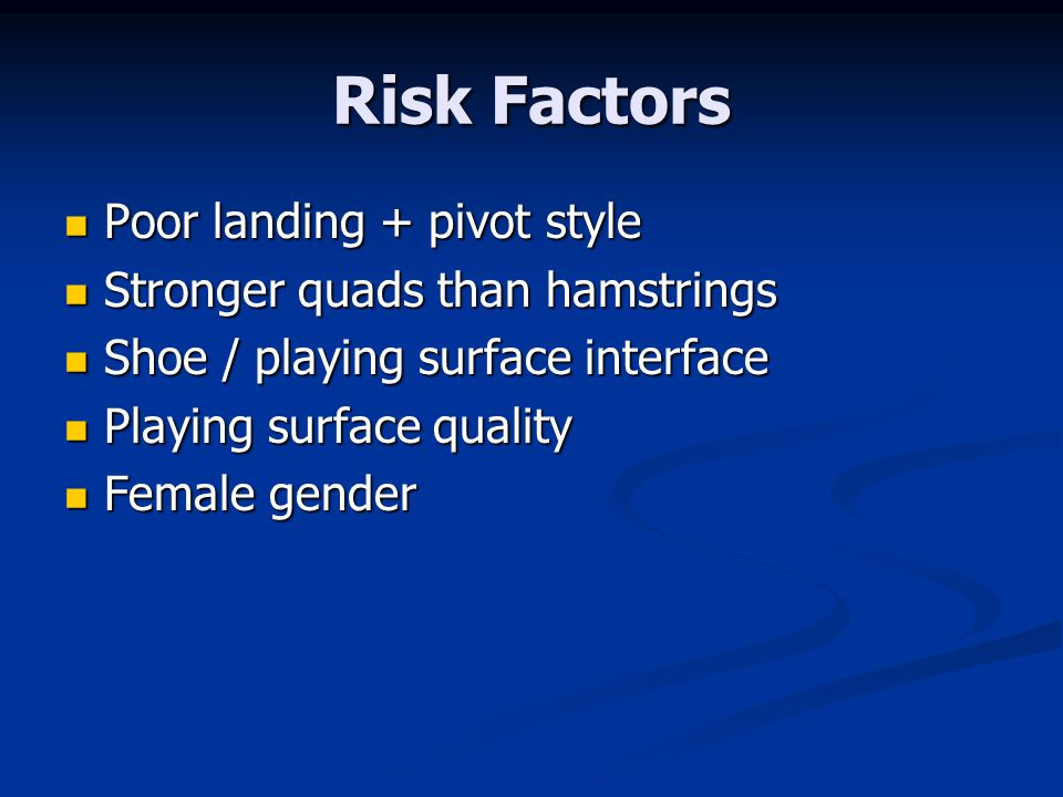 Risk Factors Poor landing + pivot style Poor landing + pivot style Stronger quads than hamstrings Stronger quads than hamstrings Shoe / playing surface interface Shoe / playing surface interface Playing surface quality Playing surface quality Female gender Female gender