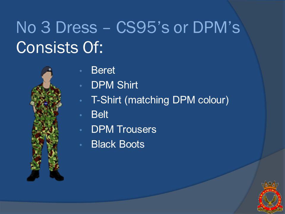 No 3 Dress – CS95s or DPMs Beret DPM Shirt T-Shirt (matching DPM colour) Belt DPM Trousers Black Boots Consists Of: