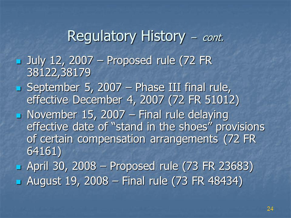 24 Regulatory History – cont.