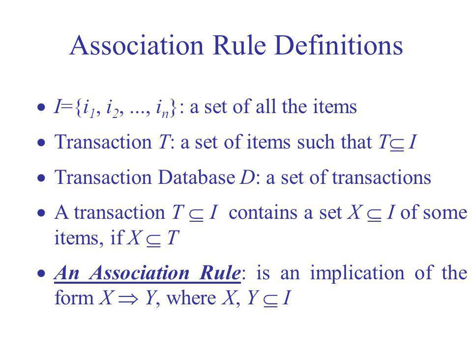 I={i 1, i 2,..., i n }: a set of all the items Transaction T: a set of items such that T I Transaction Database D: a set of transactions A transaction