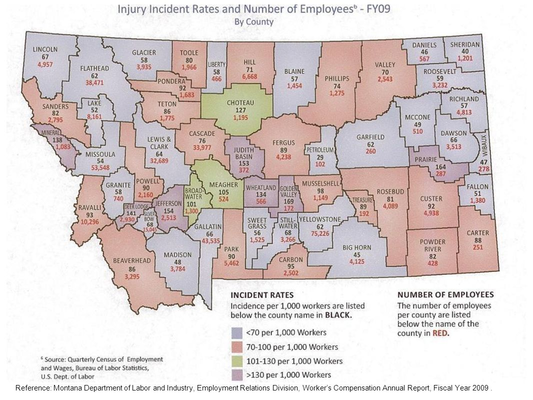 Reference: Montana Department of Labor and Industry, Employment Relations Division, Workers Compensation Annual Report, Fiscal Year 2009.