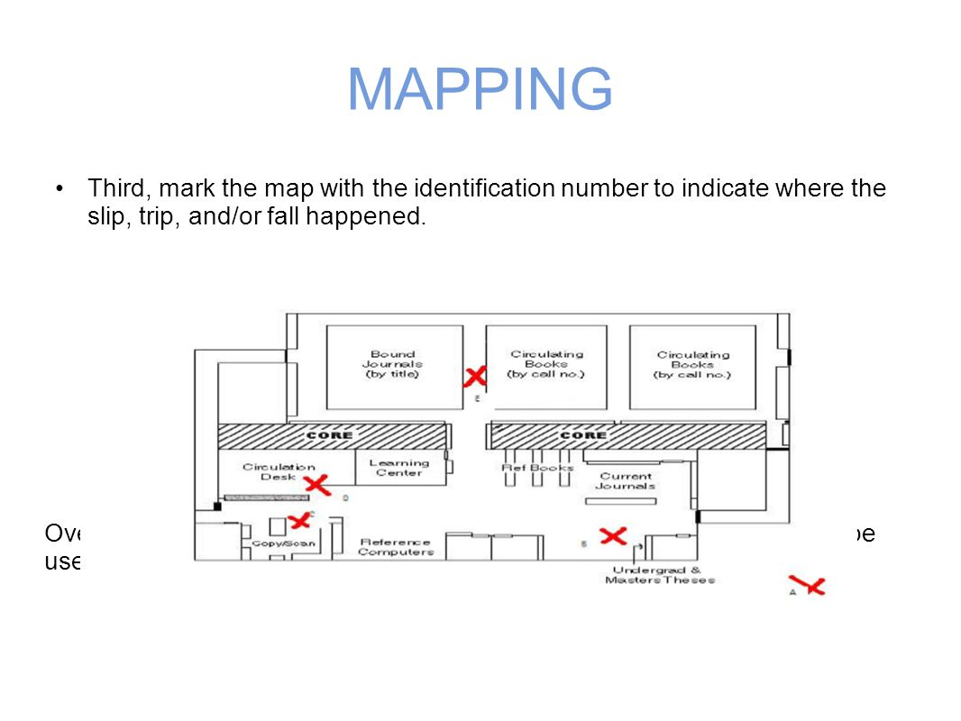 MAPPING Third, mark the map with the identification number to indicate where the slip, trip, and/or fall happened.