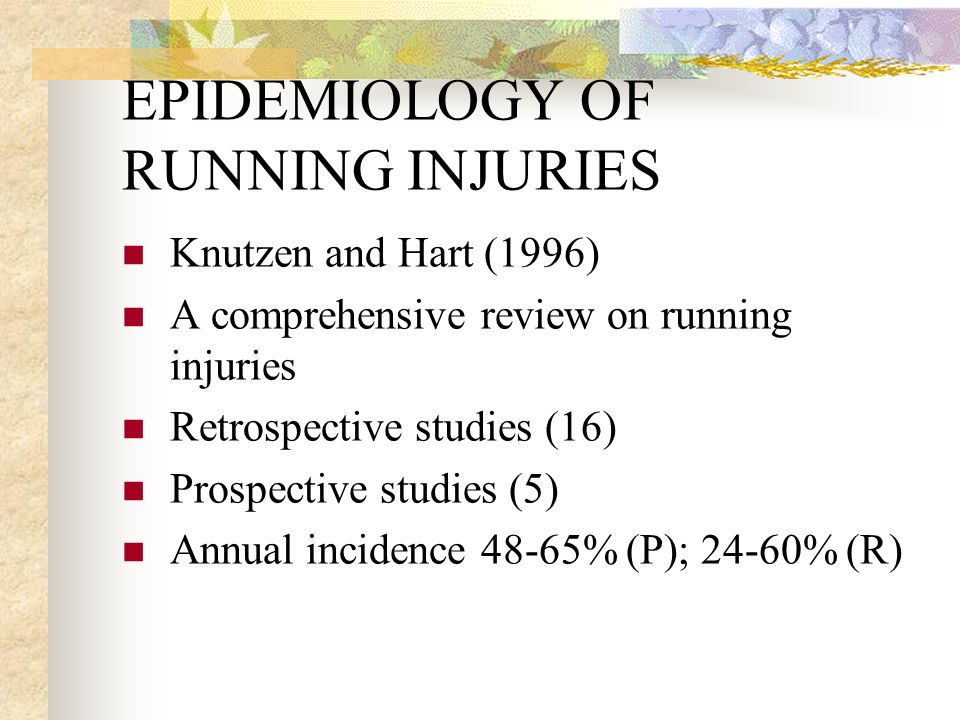 EPIDEMIOLOGY OF INJURIES Data collection far from comprehensive Subjects selection bias Injuries ill-defined True incidence of injuries yet to be determined (for details, refer to Caine et al., (1996) epidemiology of sports injuries.