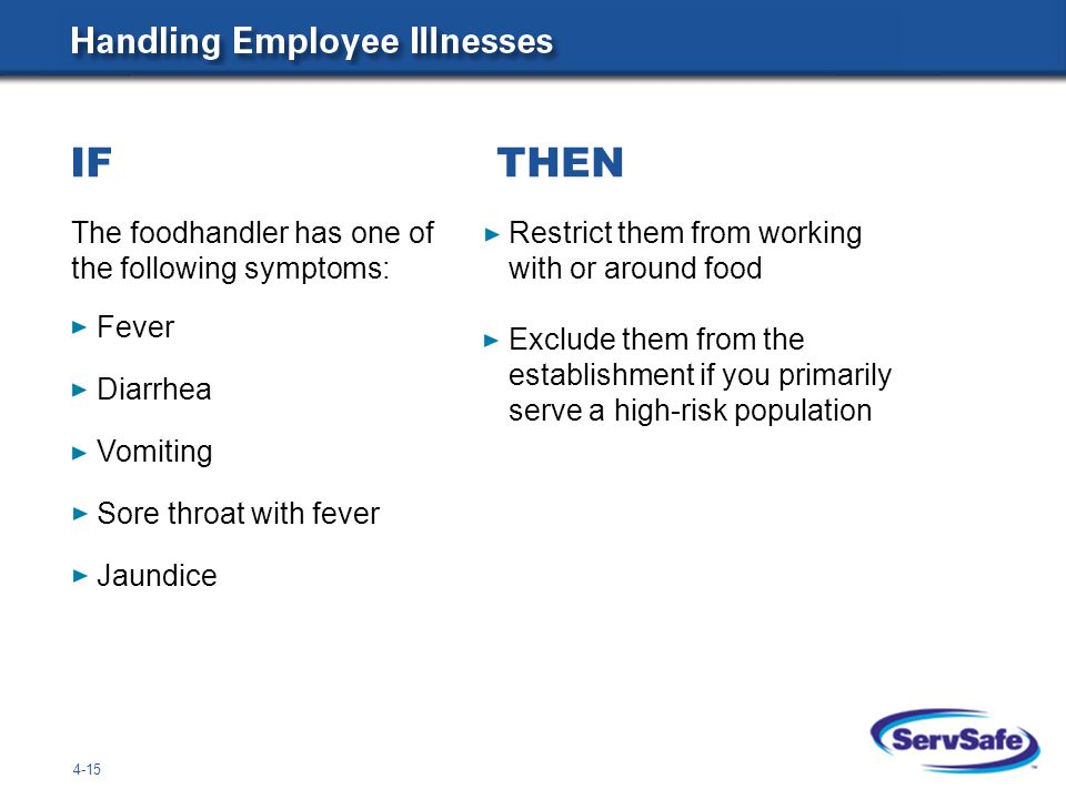 4-15 The foodhandler has one of the following symptoms: Restrict them from working with or around food Exclude them from the establishment if you primarily serve a high-risk population IF THEN Fever Diarrhea Vomiting Sore throat with fever Jaundice