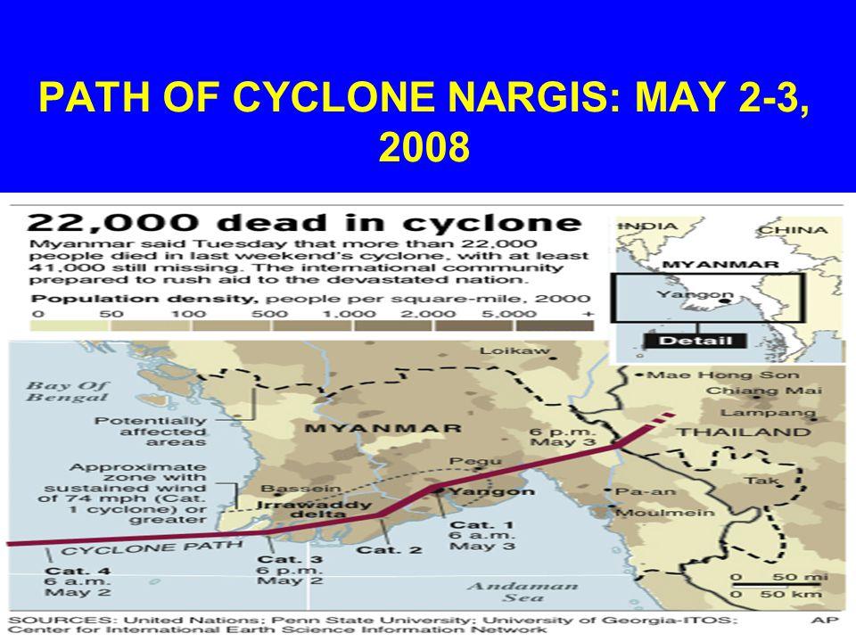 PATH OF CYCLONE NARGIS: MAY 2-3, 2008