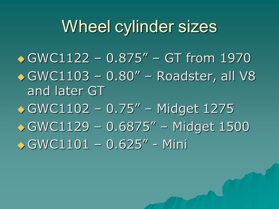 Wheel cylinder sizes GWC1122 – 0.875 – GT from 1970 GWC1122 – 0.875 – GT from 1970 GWC1103 – 0.80 – Roadster, all V8 and later GT GWC1103 – 0.80 – Roadster, all V8 and later GT GWC1102 – 0.75 – Midget 1275 GWC1102 – 0.75 – Midget 1275 GWC1129 – 0.6875 – Midget 1500 GWC1129 – 0.6875 – Midget 1500 GWC1101 – 0.625 - Mini GWC1101 – 0.625 - Mini