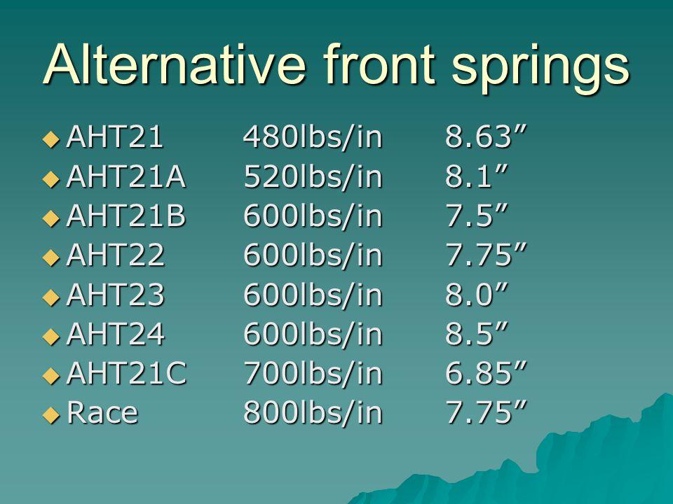 Alternative front springs AHT21480lbs/in8.63 AHT21480lbs/in8.63 AHT21A520lbs/in8.1 AHT21A520lbs/in8.1 AHT21B600lbs/in7.5 AHT21B600lbs/in7.5 AHT22600lbs/in7.75 AHT22600lbs/in7.75 AHT23600lbs/in8.0 AHT23600lbs/in8.0 AHT24600lbs/in8.5 AHT24600lbs/in8.5 AHT21C700lbs/in6.85 AHT21C700lbs/in6.85 Race800lbs/in7.75 Race800lbs/in7.75