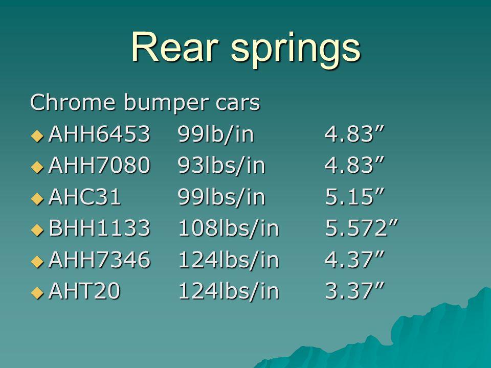 Rear springs Chrome bumper cars AHH645399lb/in4.83 AHH645399lb/in4.83 AHH708093lbs/in4.83 AHH708093lbs/in4.83 AHC3199lbs/in5.15 AHC3199lbs/in5.15 BHH1133108lbs/in5.572 BHH1133108lbs/in5.572 AHH7346124lbs/in4.37 AHH7346124lbs/in4.37 AHT20124lbs/in3.37 AHT20124lbs/in3.37