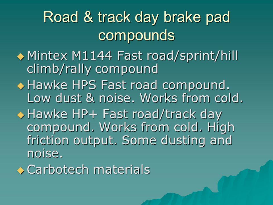 Racing brake pad compounds Mintex M1155 – Circuit racing compound Mintex M1155 – Circuit racing compound Hawke Black - High initial torque/ bite.