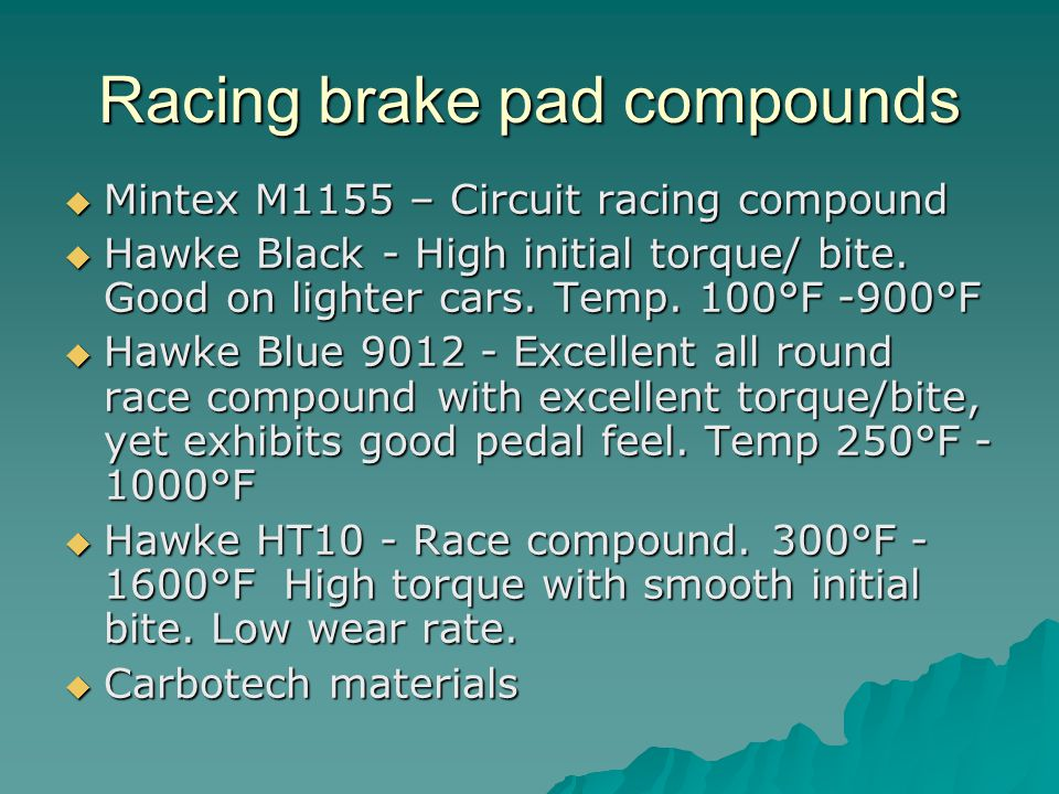 Racing brake pad compounds Mintex M1155 – Circuit racing compound Mintex M1155 – Circuit racing compound Hawke Black - High initial torque/ bite.