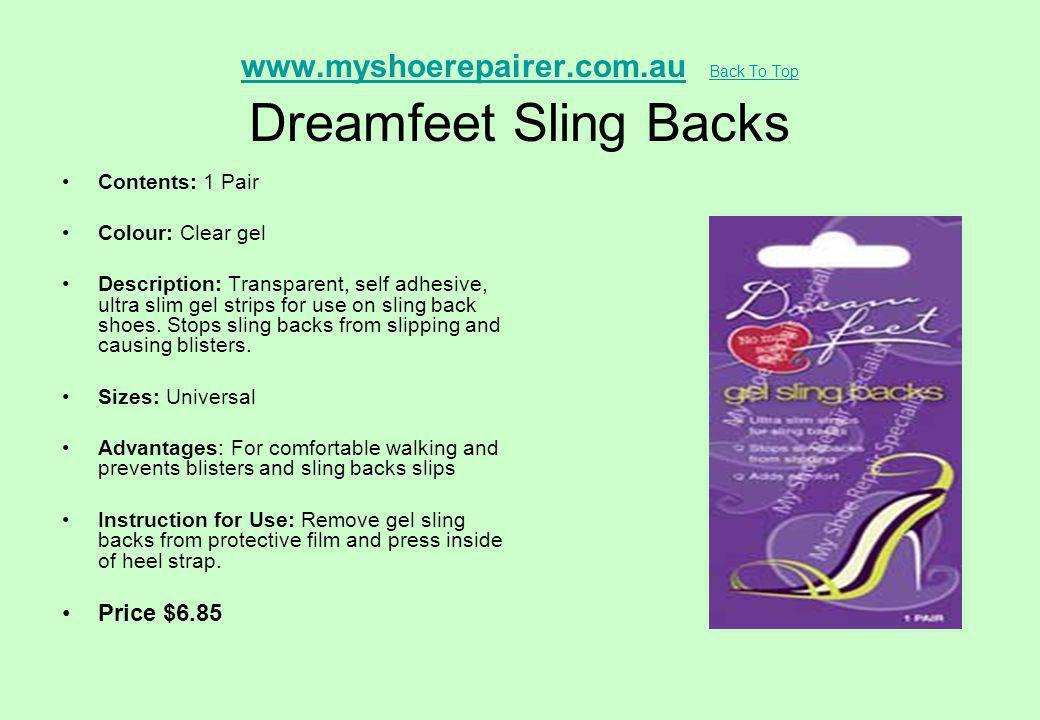 www.myshoerepairer.com.auwww.myshoerepairer.com.au Back To Top Dreamfeet Sling Backs Back To Top Contents: 1 Pair Colour: Clear gel Description: Trans