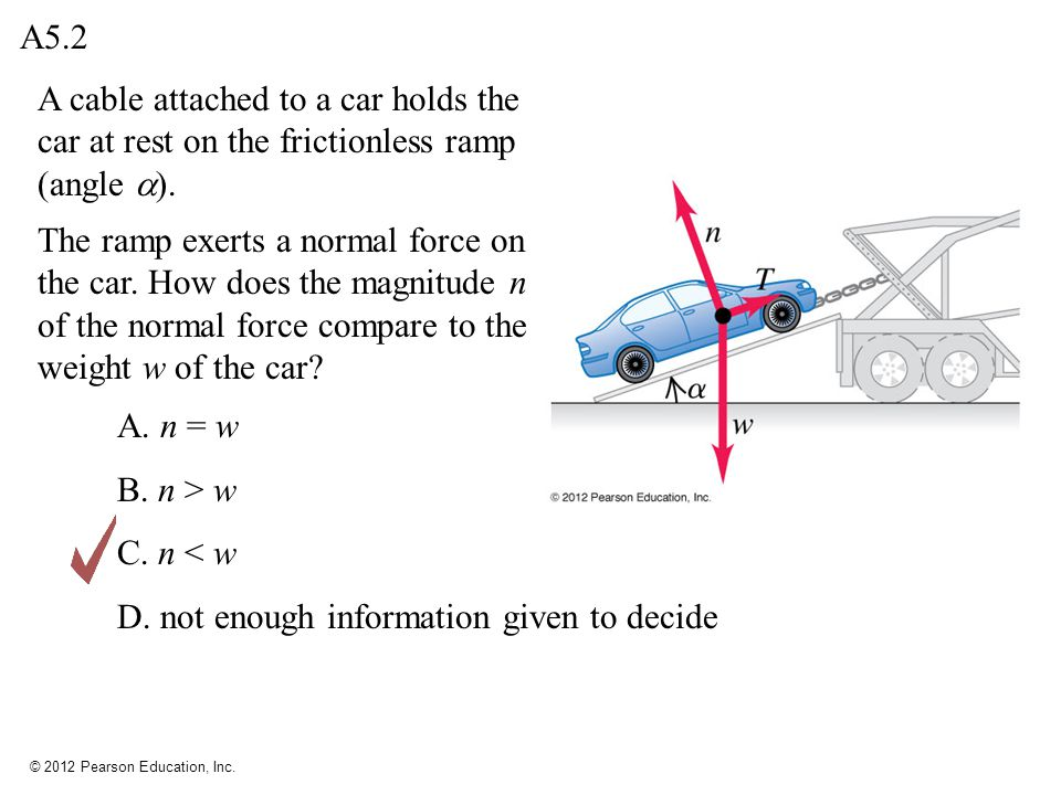© 2012 Pearson Education, Inc. A cable attached to a car holds the car at rest on the frictionless ramp (angle ). A. n = w B. n > w C. n < w D. not en