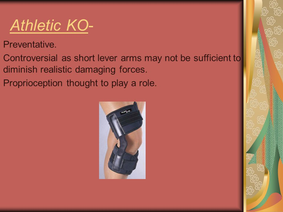 Athletic KO- Preventative. Controversial as short lever arms may not be sufficient to diminish realistic damaging forces. Proprioception thought to pl