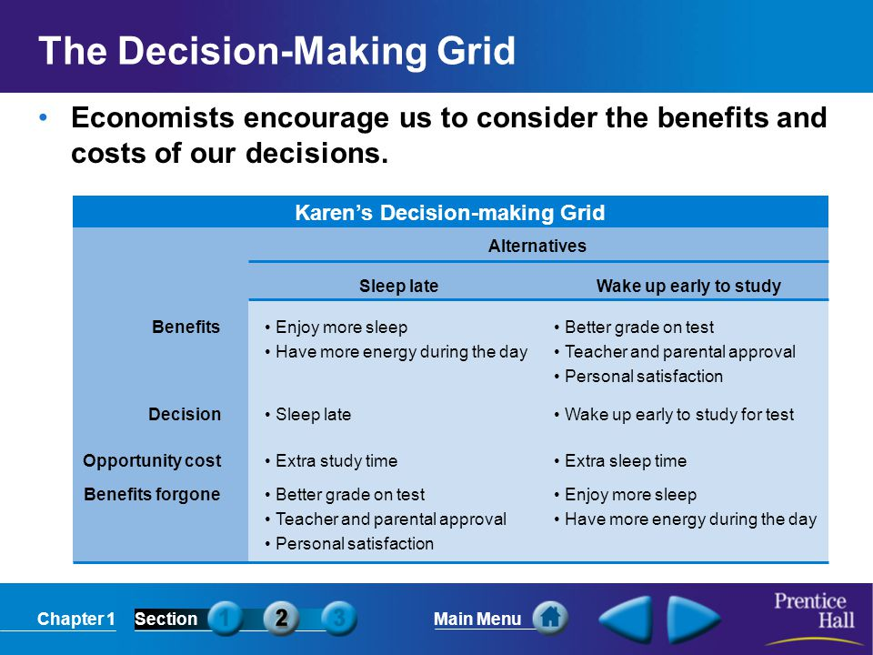 Chapter 1SectionMain Menu The Decision-Making Grid Economists encourage us to consider the benefits and costs of our decisions.