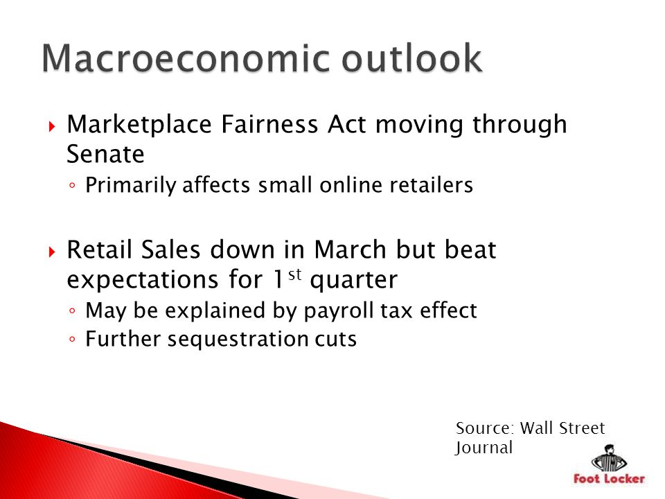 Marketplace Fairness Act moving through Senate Primarily affects small online retailers Retail Sales down in March but beat expectations for 1 st quarter May be explained by payroll tax effect Further sequestration cuts Source: Wall Street Journal