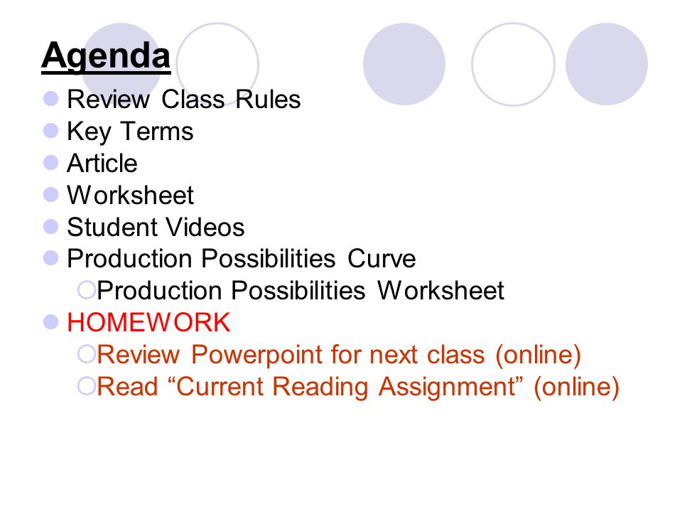 Agenda Review Class Rules Key Terms Article Worksheet Student Videos Production Possibilities Curve Production Possibilities Worksheet HOMEWORK Review