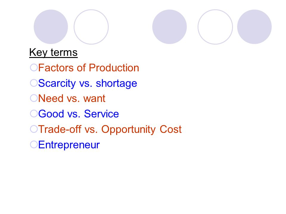 Key terms Factors of Production Scarcity vs. shortage Need vs. want Good vs. Service Trade-off vs. Opportunity Cost Entrepreneur