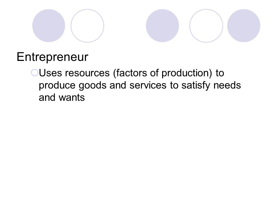 Entrepreneur Uses resources (factors of production) to produce goods and services to satisfy needs and wants