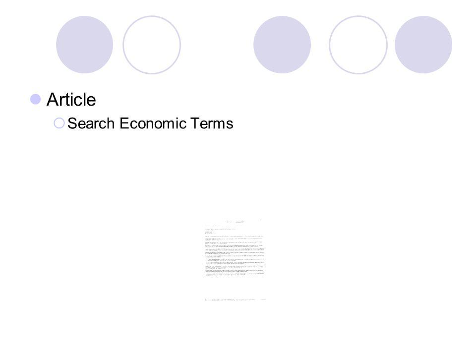 Article Search Economic Terms
