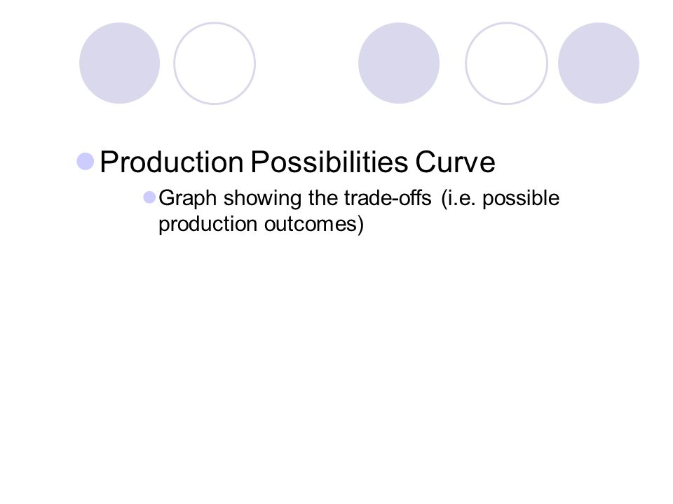 Production Possibilities Curve Graph showing the trade-offs (i.e. possible production outcomes)