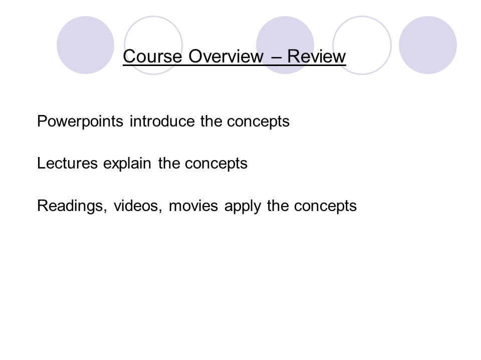 Course Overview – Review Powerpoints introduce the concepts Lectures explain the concepts Readings, videos, movies apply the concepts So if you dont review and print the powerpoints before class, success is not likely