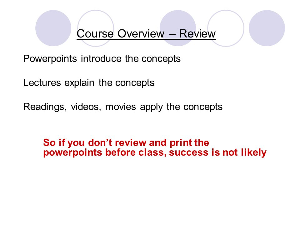 Course Overview – Review Powerpoints introduce the concepts Lectures explain the concepts Readings, videos, movies apply the concepts So if you dont r