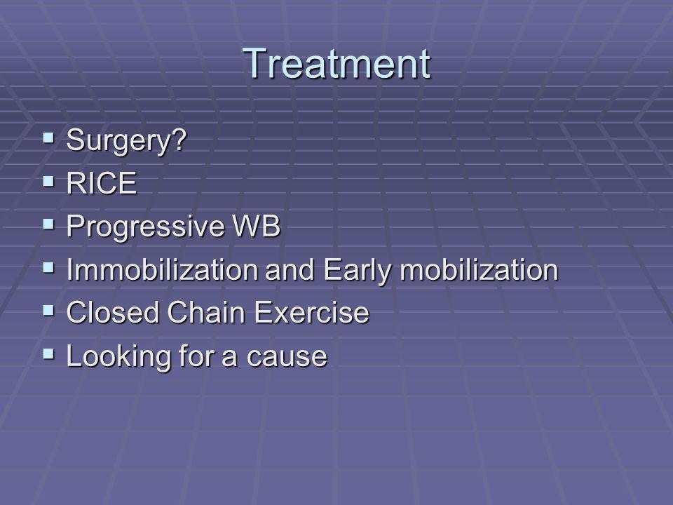 Treatment Surgery? Surgery? RICE RICE Progressive WB Progressive WB Immobilization and Early mobilization Immobilization and Early mobilization Closed