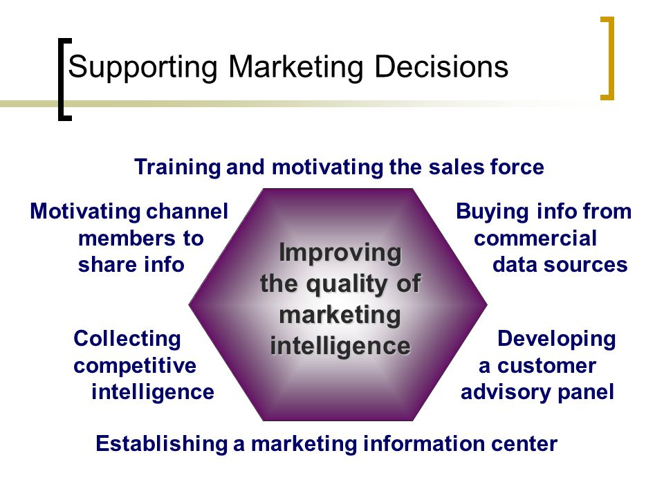 Supporting Marketing Decisions Establishing a marketing information center Motivating channel members to share info Collecting competitive intelligence Buying info from commercial data sources Developing a customer advisory panel Improving the quality of marketing intelligence Training and motivating the sales force