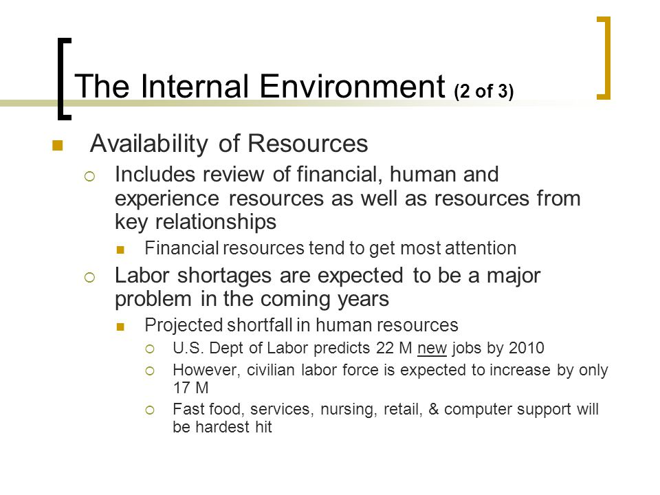 The Internal Environment (3 of 3) Organizational Culture and Structure Problems can arise when marketing does not hold a prominent position in the political hierarchy Culture and structure are relatively stable but can be affected by mergers Asynchronous corporate mergers Daimler- Chrysler Merger HP-COMPAQ