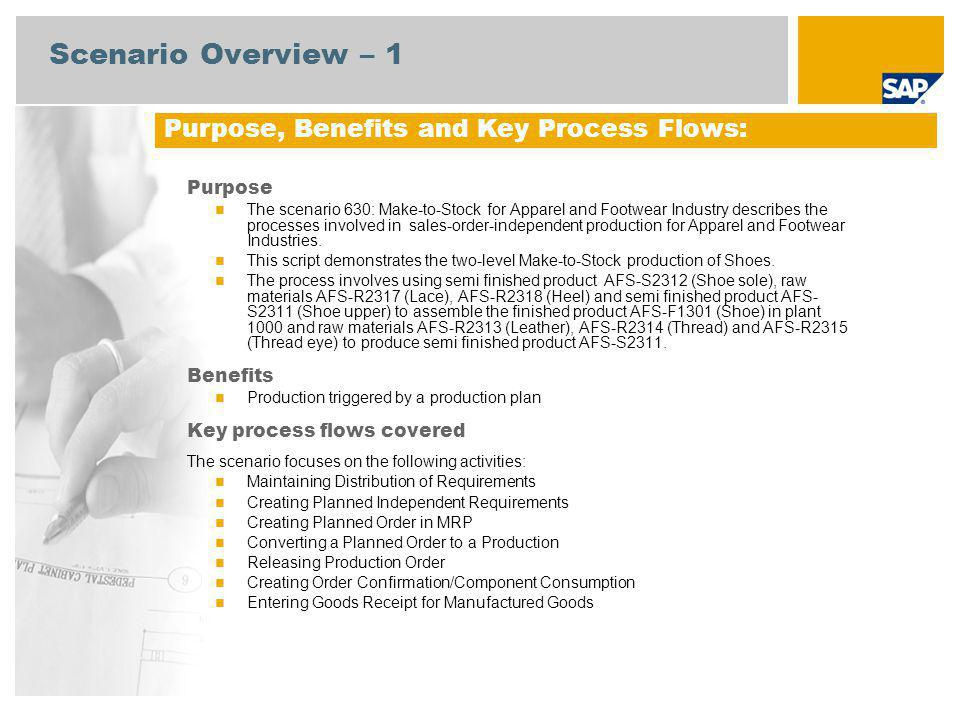 Scenario Overview – 1 Purpose The scenario 630: Make-to-Stock for Apparel and Footwear Industry describes the processes involved in sales-order-indepe