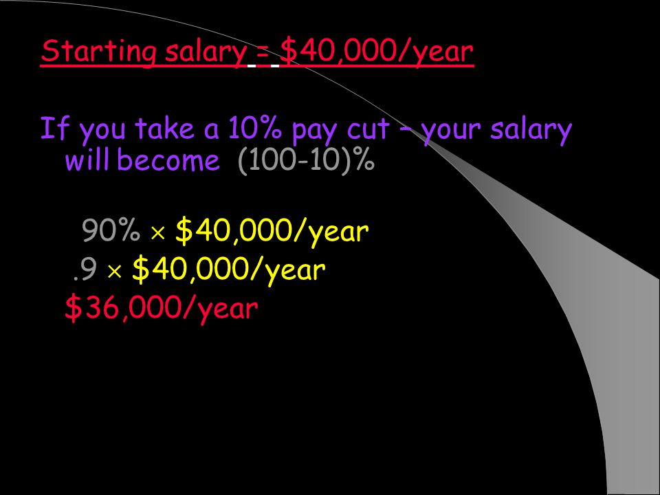 Starting salary = $40,000/year If you take a 10% pay cut – your salary will become (100-10)% $40,000/year = 90% $40,000/year =.9 $40,000/year = $36,000/year