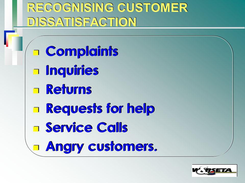 RECOGNISING CUSTOMER DISSATISFACTION n n Complaints n n Inquiries n n Returns n n Requests for help n n Service Calls n n Angry customers.