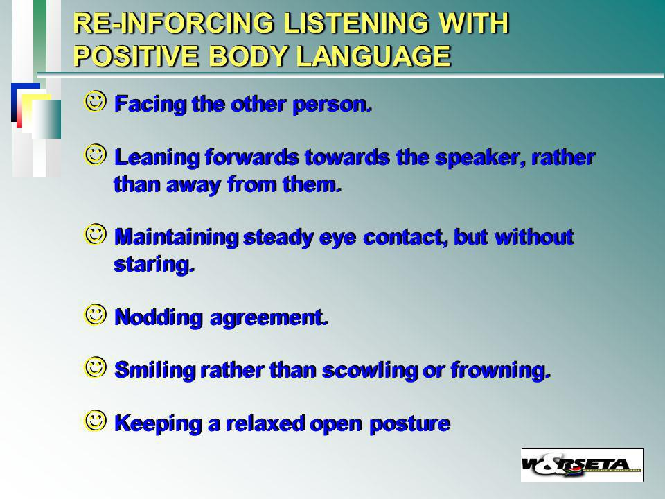 LISTENING WITH NEGATIVE BODY LANGUAGE Turning away.